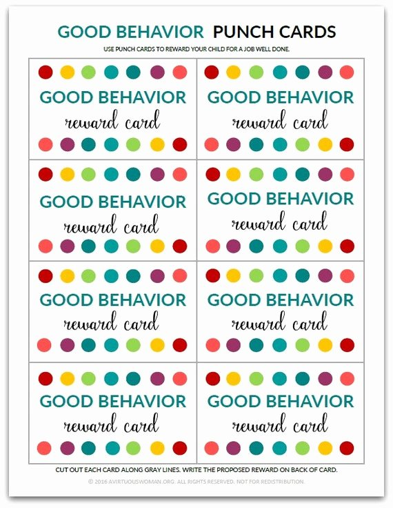 Behavior Punch Card Template Unique Pdf Good Behavior Punch Card Reward Card for Kids