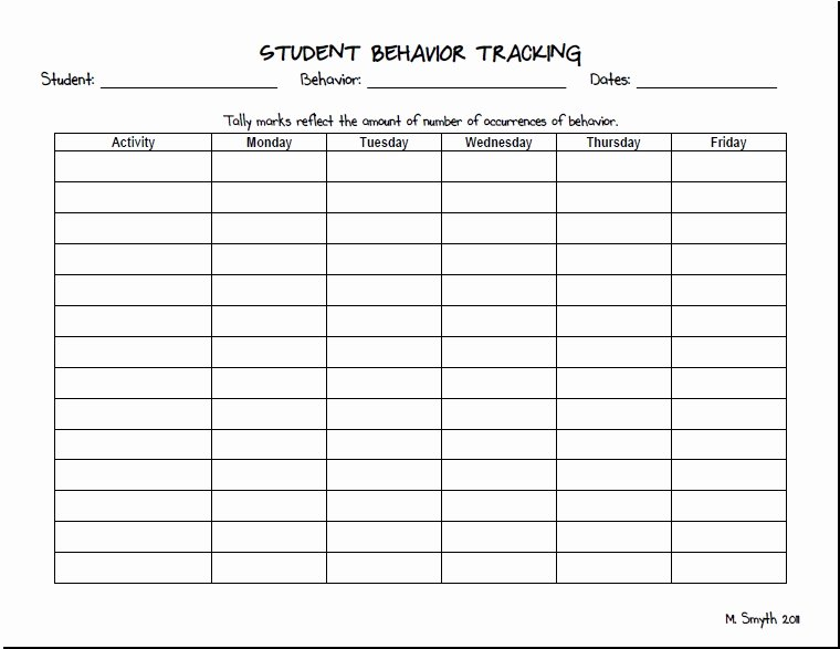 Behavior Tracker Template Beautiful Behavior Tracking forms
