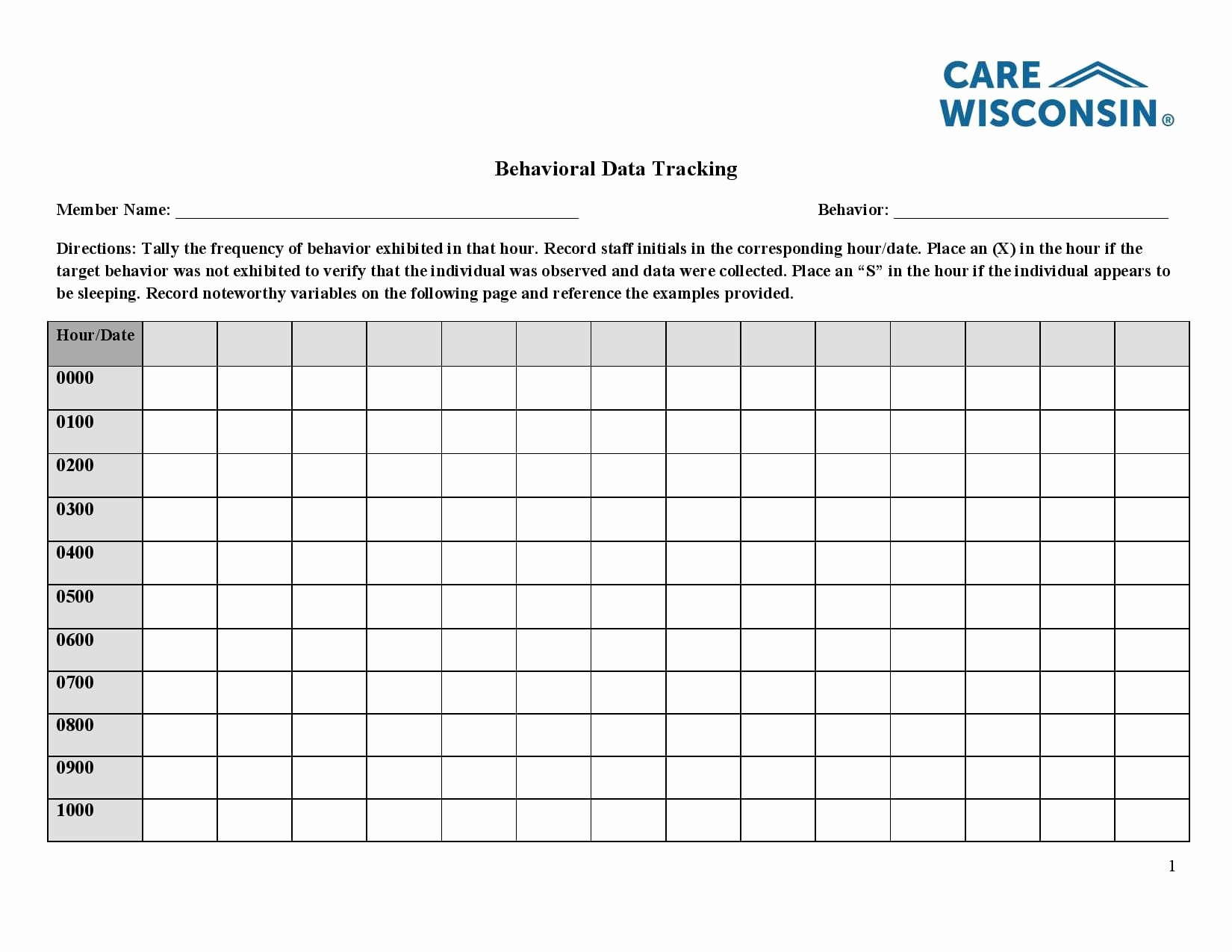 Behavior Tracker Template Fresh Behavioral Data Tracking Template Page 001 Care Wisconsin