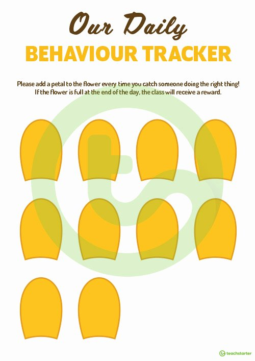 Behavior Tracker Template Fresh Class Behavior Tracker Flower Template Teaching Resource
