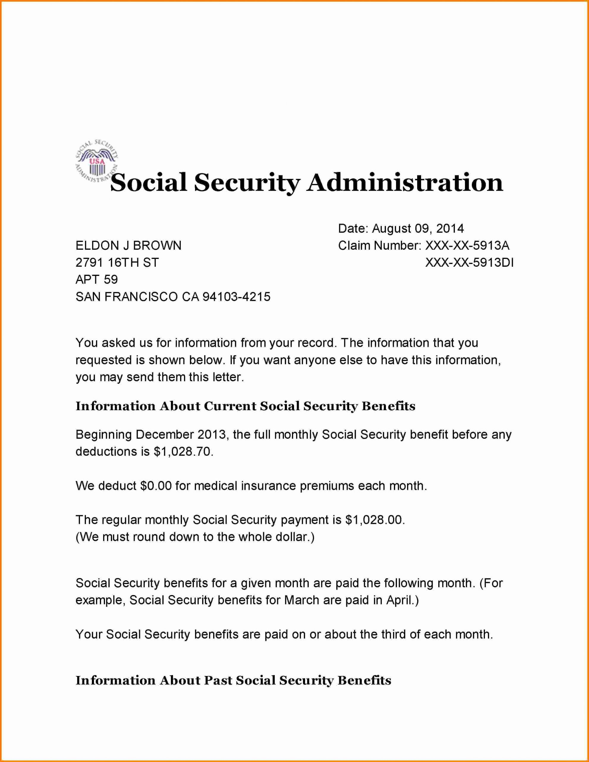 Benefit Verification Letter Best Of 10 social Security Benefits Letter