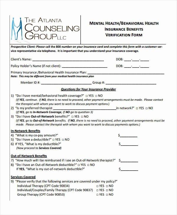 Benefit Verification Letter Fresh Free 23 Insurance Verification form Templates
