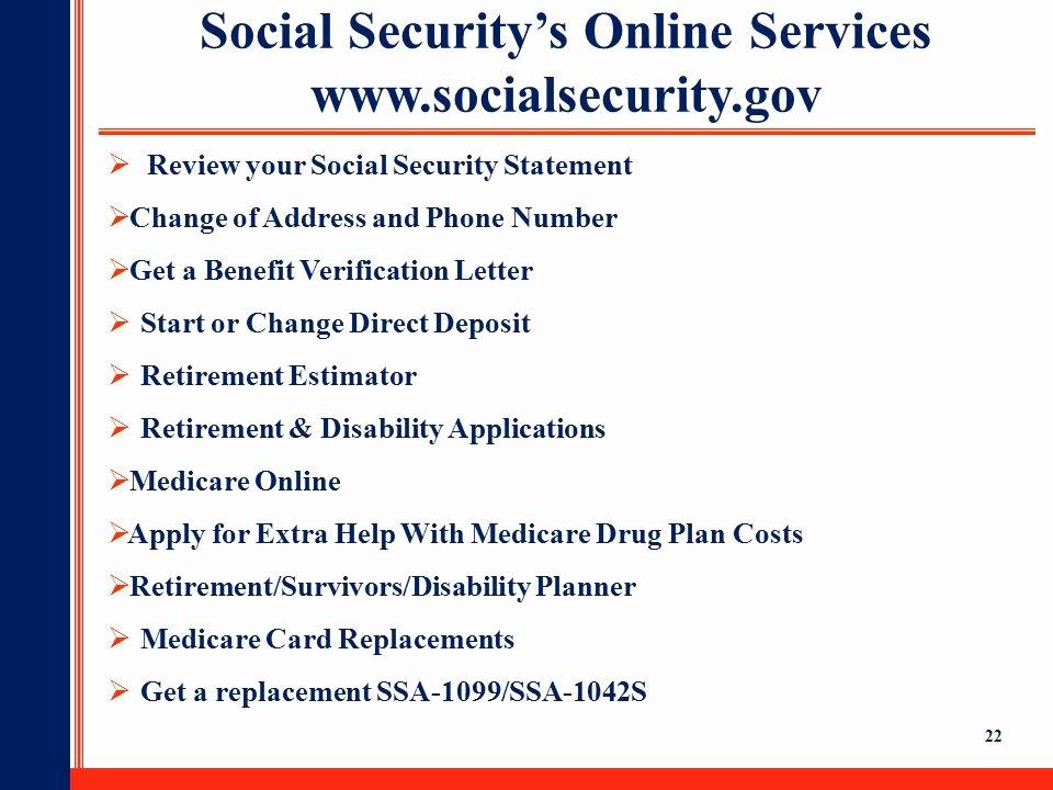 Benefit Verification Letter Fresh social Security Ppt Video Online