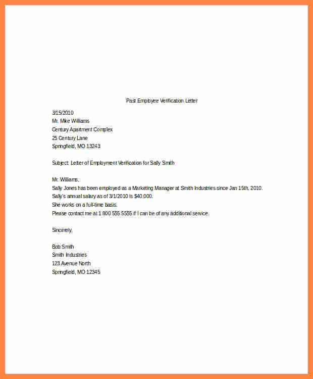 Benefit Verification Letter New 6 Employment and Salary Verification Letter