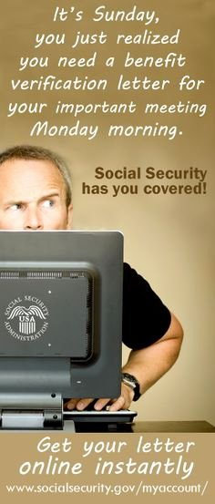 Benefit Verification Letter New My social Security On Pinterest