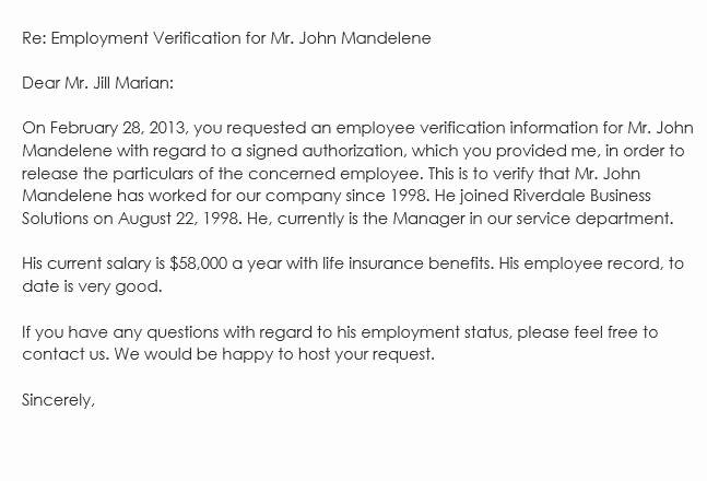 Benefit Verification Letter Unique Sample Employment Verification Request Letters & Replies