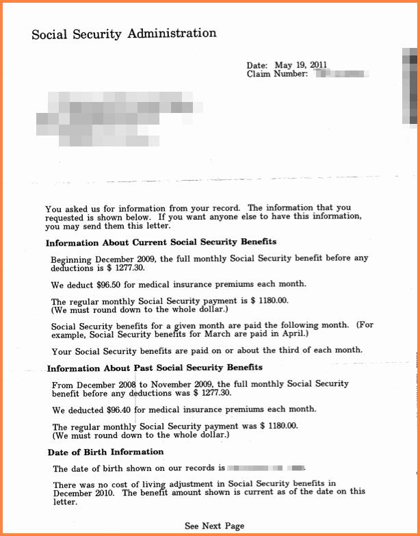 Benefits Verification Letter Beautiful social Security Benefit Letter