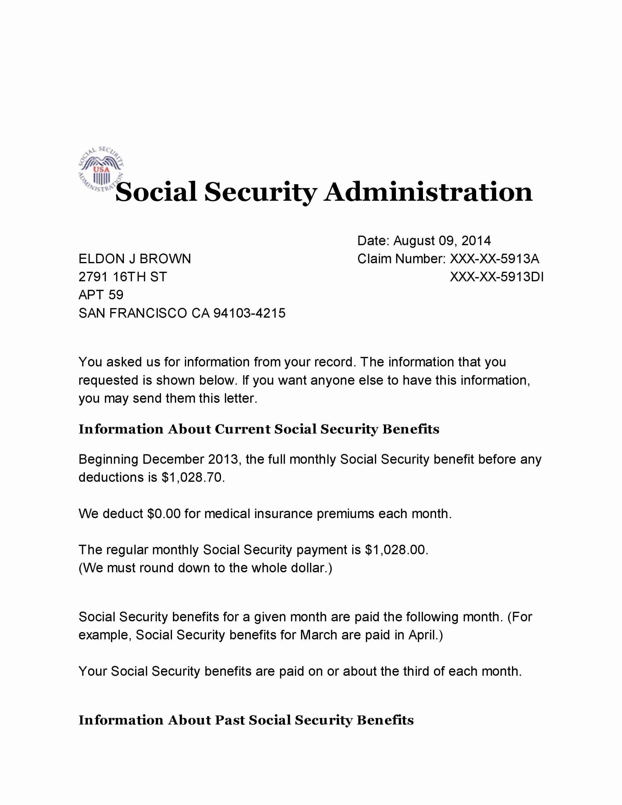 Benefits Verification Letter Inspirational social Security Benefit Letter
