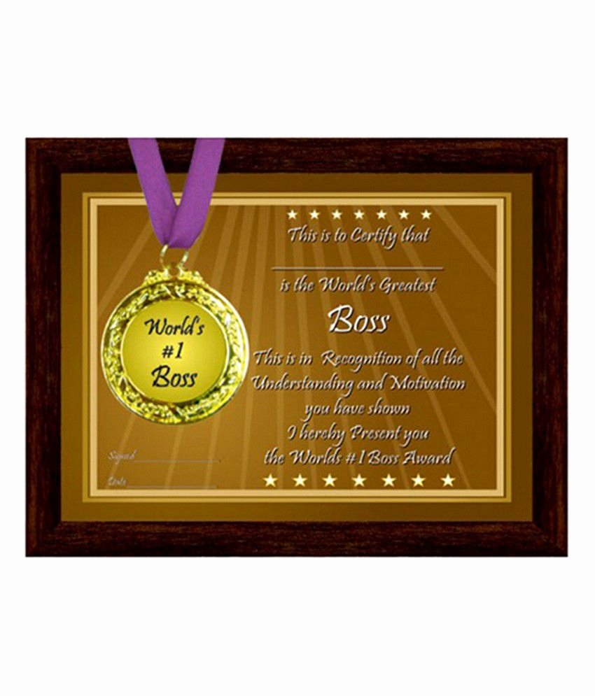 Best Boss Award Certificate Awesome Frame with Medal & Certificate for Boss Buy Frame with