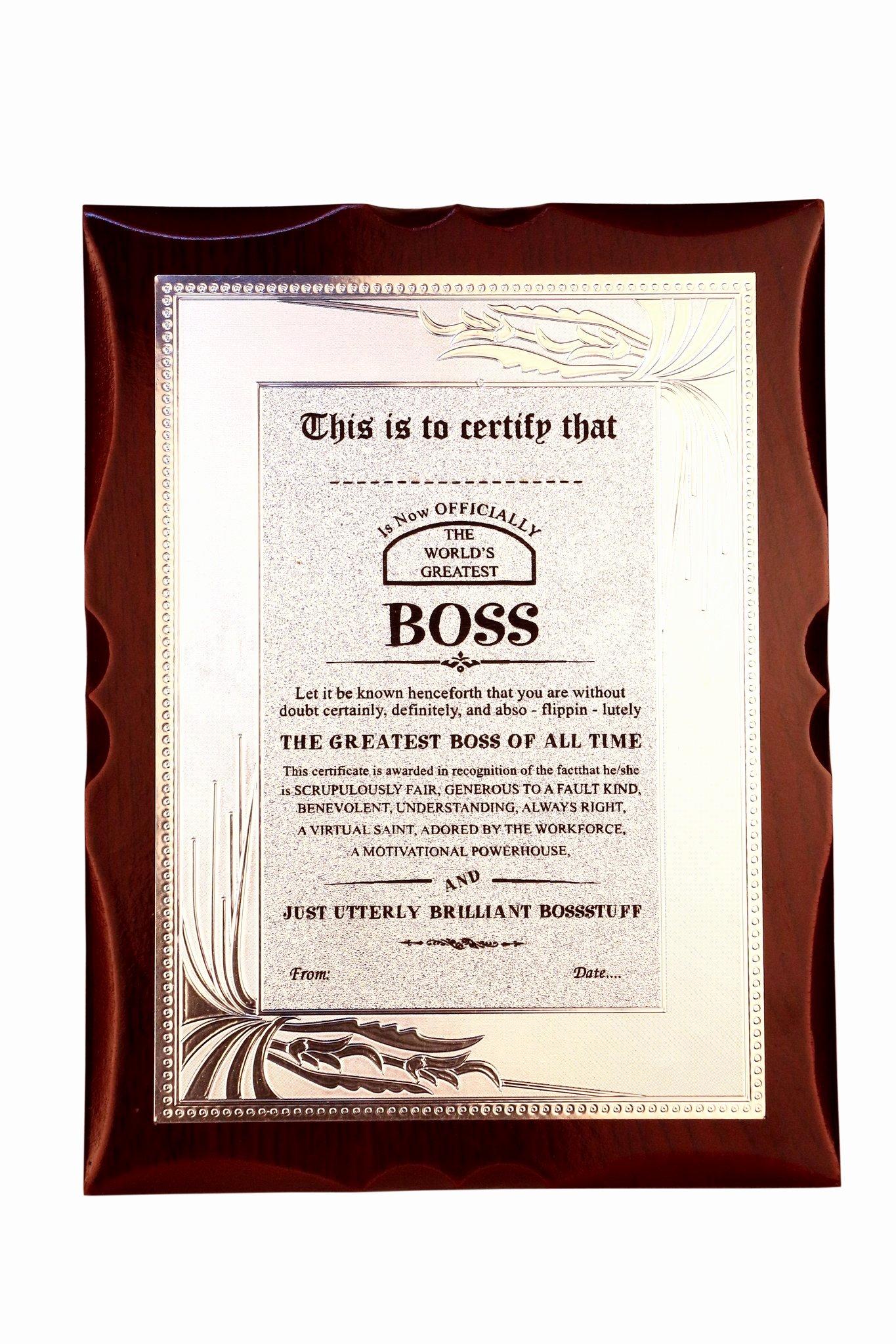 Best Boss Award Certificate Beautiful Gift for Boss World S Best Boss Premium Certificate