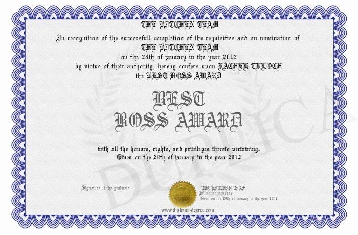 Best Boss Award Certificate Best Of Best Boss Award