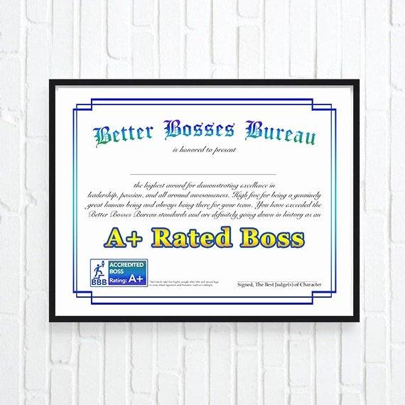 Best Boss Award Certificate Best Of Gift for Boss Best Boss Award Boss S Day Gift Bosses