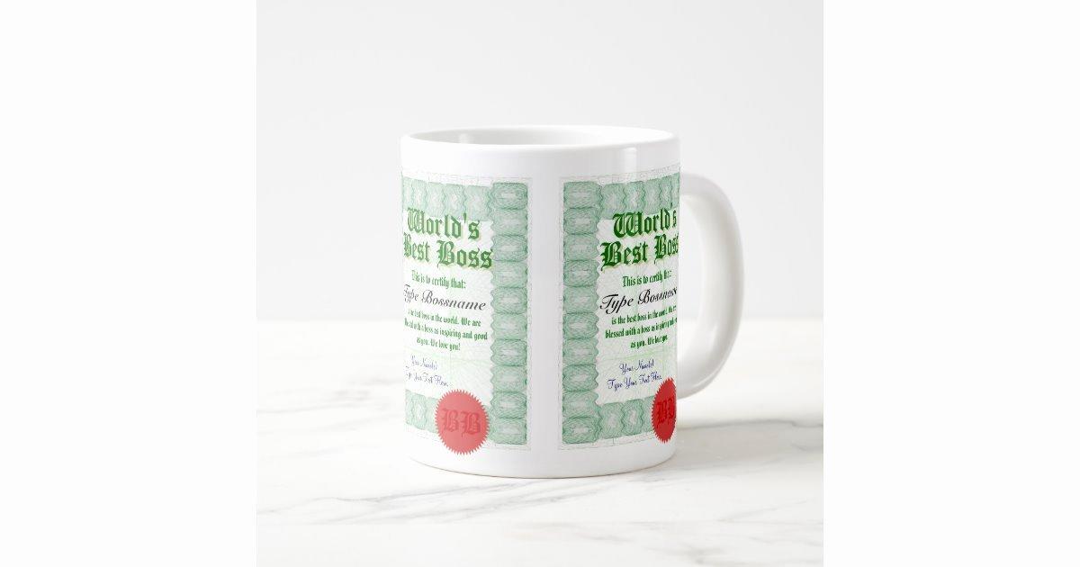 worlds best boss award certificate jumbo mug