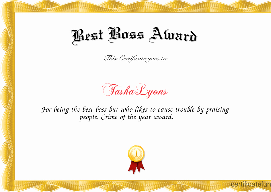 Best Boss Award Certificate Luxury Best Boss Award Certificate