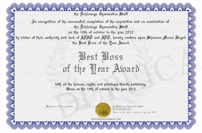 Best Boss Award Certificate Unique Best Boss Of the Year Award