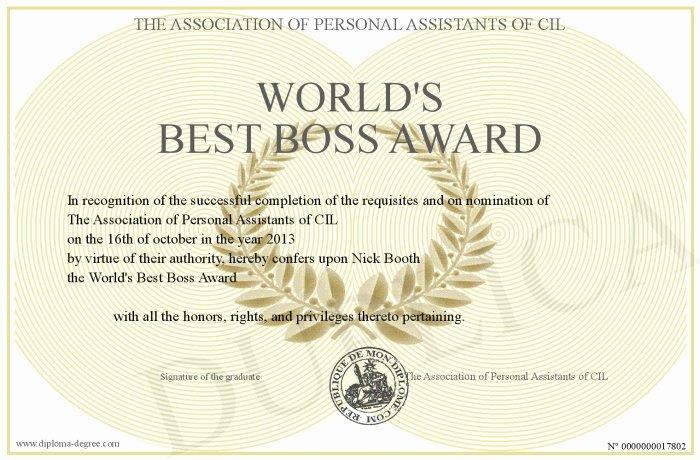 Best Boss Award Certificate Unique World S Best Boss Award