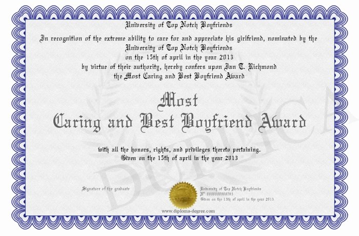 Best Boyfriend Award Certificate Awesome Most Caring and Best Boyfriend Award