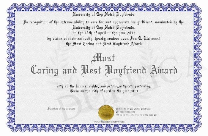 Best Boyfriend Award Certificate Awesome Most Caring and Best Boyfriend Award