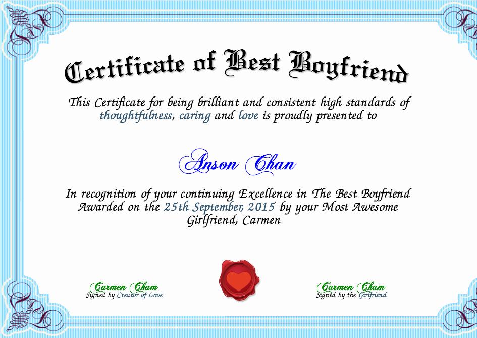 Best Boyfriend Award Certificate Beautiful Certificate Of Best Boyfriend Certificate