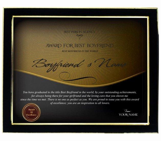 Best Boyfriend Award Certificate Beautiful Personalized Certificate for Worlds Best Boyfriend with Frame