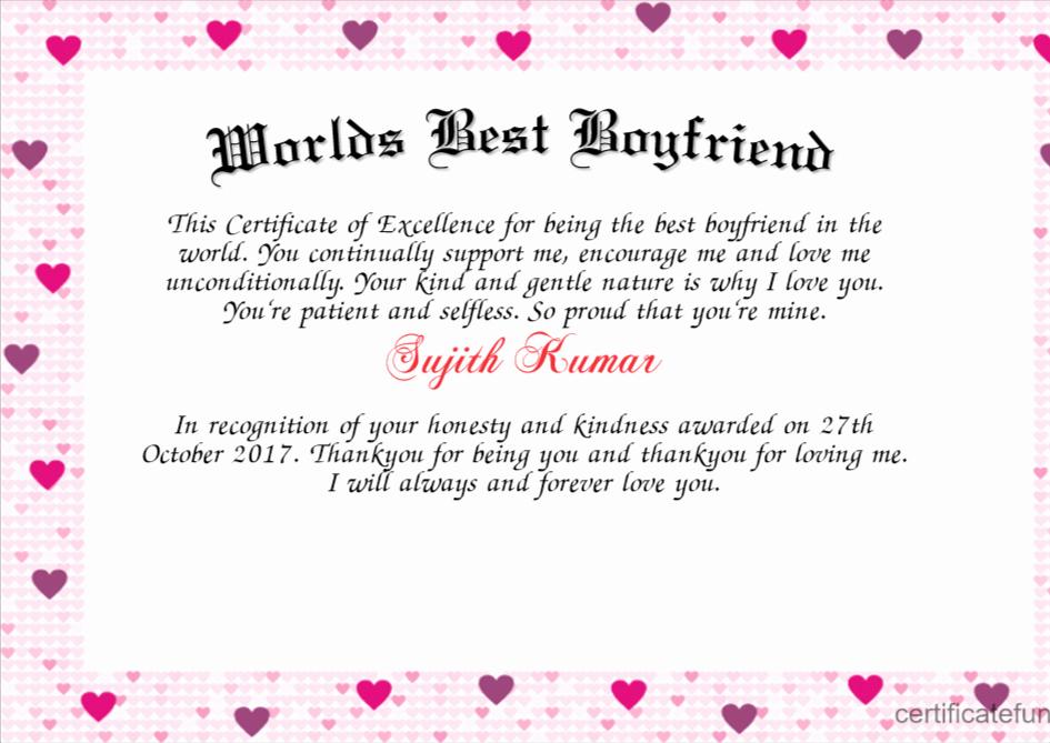 Best Boyfriend Award Certificate Beautiful Worlds Best Boyfriend Certificate