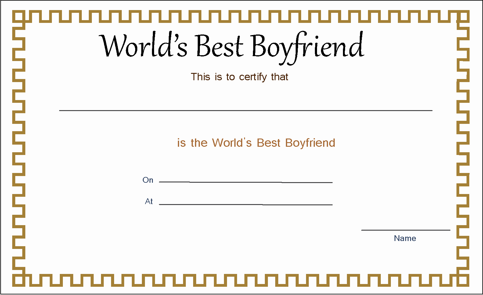 Best Boyfriend Award Certificate Best Of Best Boyfriend Award Certificate Template Blank Award