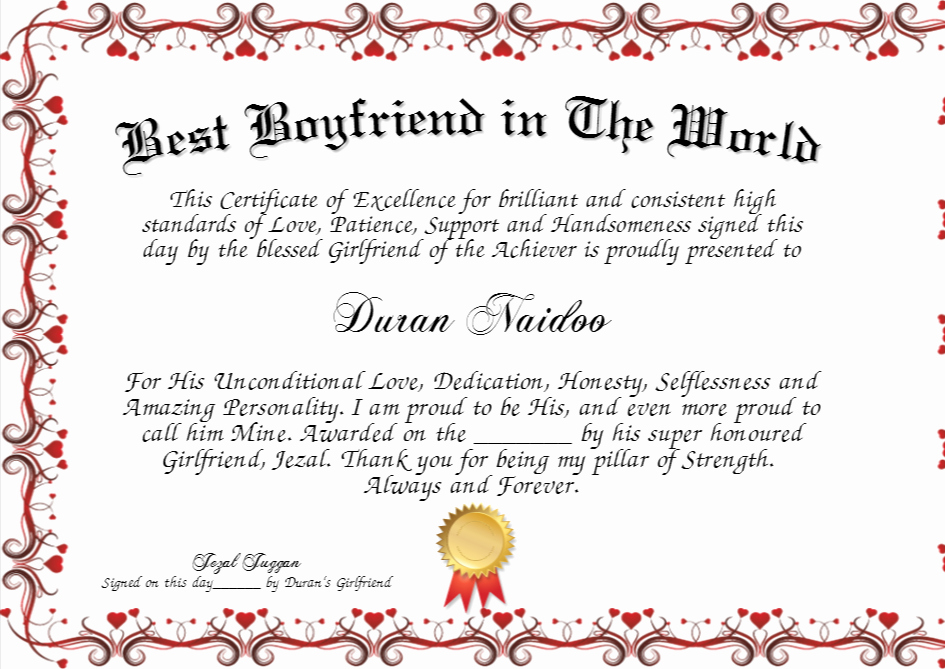 Best Boyfriend Award Certificate Elegant Best Boyfriend In the World Certificate