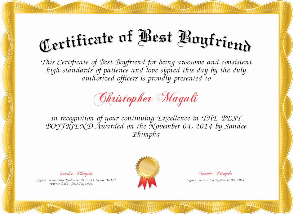 Best Boyfriend Award Certificate Elegant Certificate Of Best Boyfriend Certificate