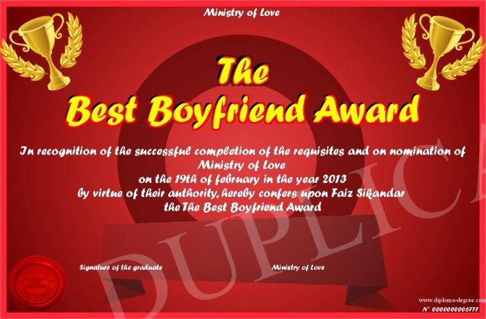 Best Boyfriend Award Certificate Elegant the Best Boyfriend Award