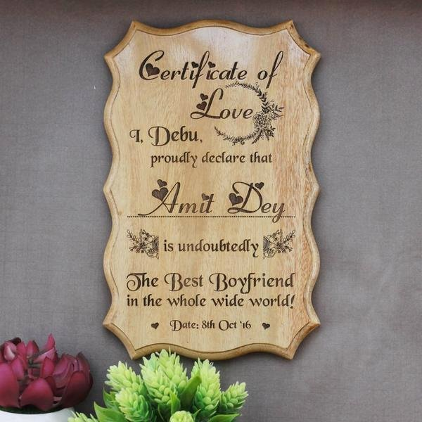 Best Boyfriend Award Certificate Fresh Certificate Of Love & Award for the Best Boyfriend Wooden