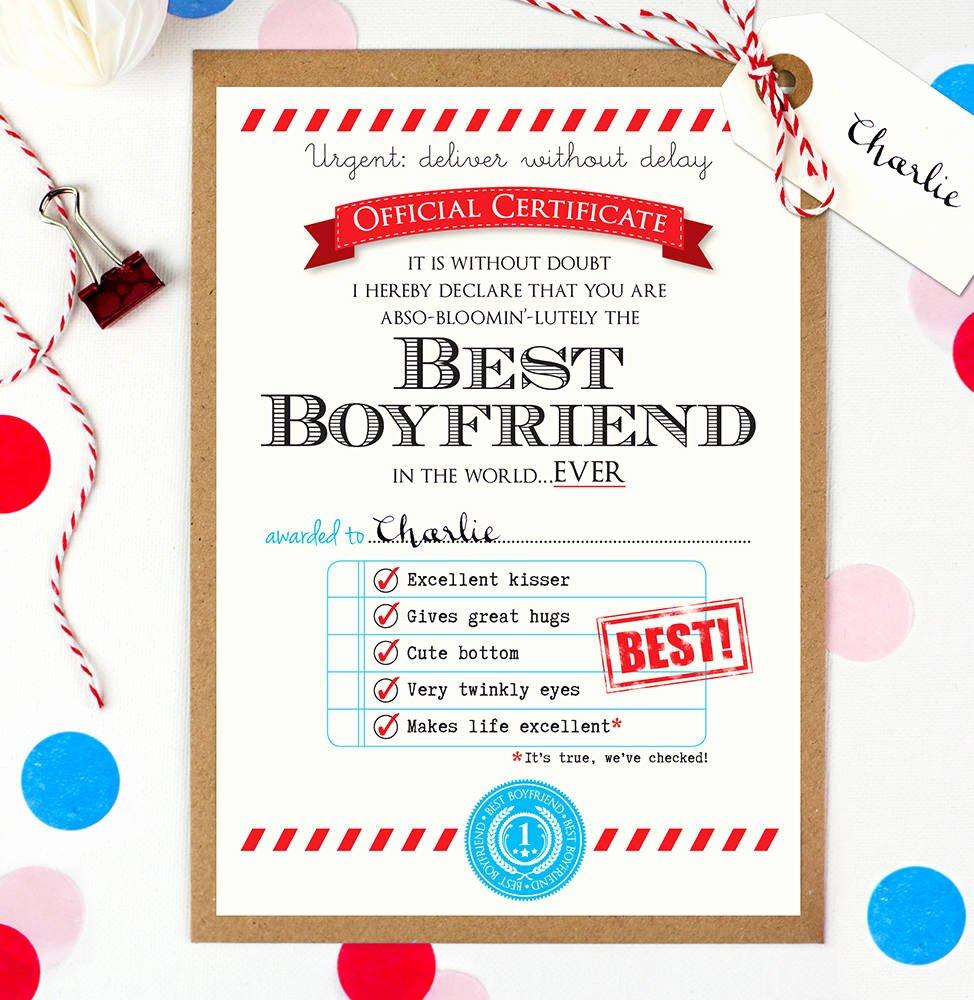 Best Boyfriend Award Certificate Fresh Personalised Best Boyfriend Certificate by Eskimo Kiss