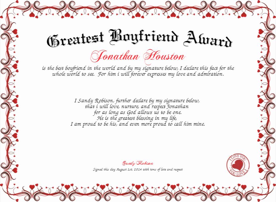 Best Boyfriend Award Certificate Inspirational Best Boyfriend Award Certificate Template Blank Award