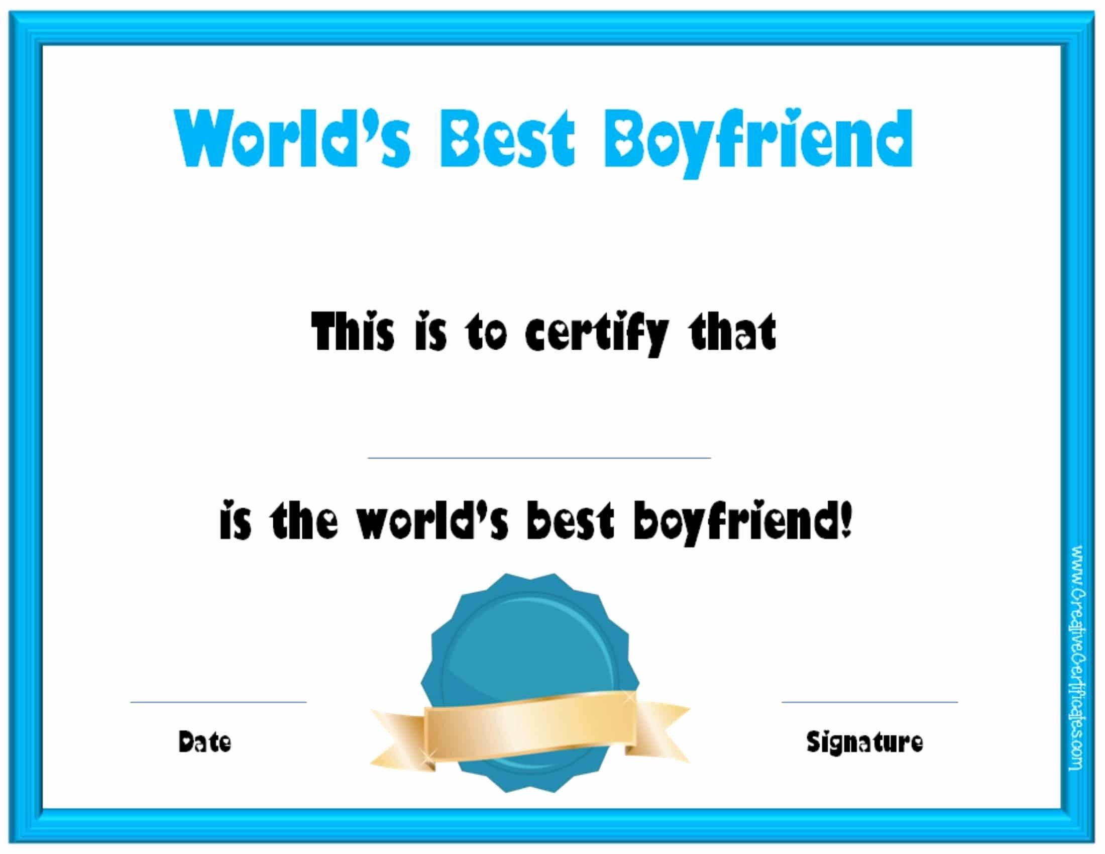 Best Boyfriend Award Certificate Lovely Valentine S Day Certificates