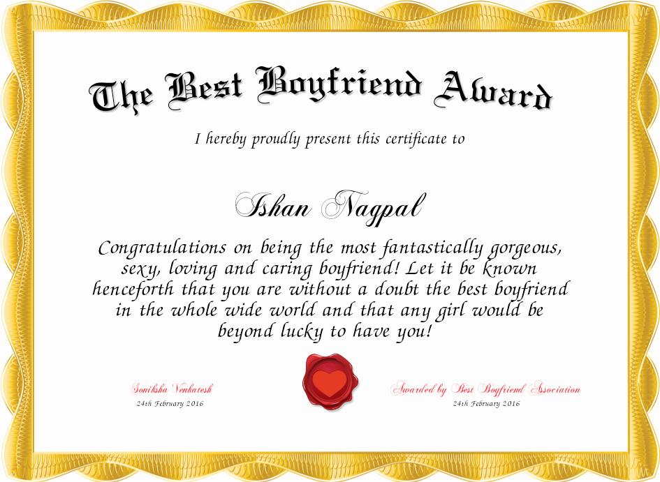 Best Boyfriend Award Certificate Luxury the Best Boyfriend Award Certificate
