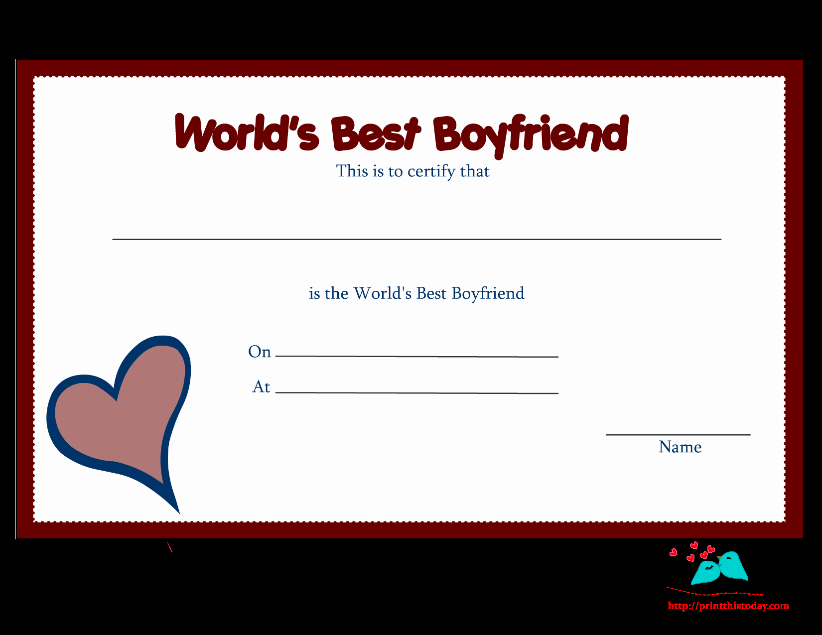 Best Boyfriend Award Certificate New Free Printable World S Best Boyfriend Certificates