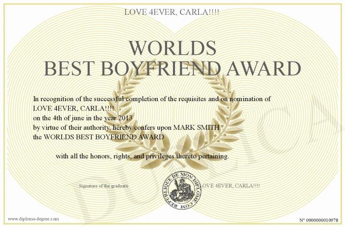 Best Boyfriend Award Certificate New Worlds Best Boyfriend Award