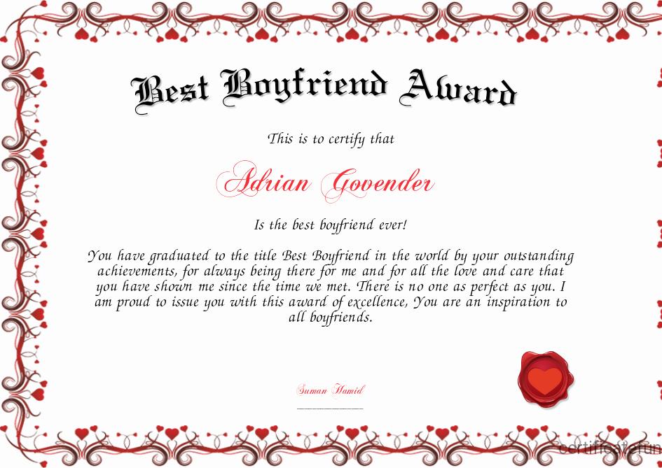 Best Boyfriend Award Certificate Unique Best Boyfriend Award Certificate