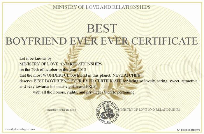 Best Boyfriend Award Printable Awesome Best Boyfriend Ever Ever Certificate