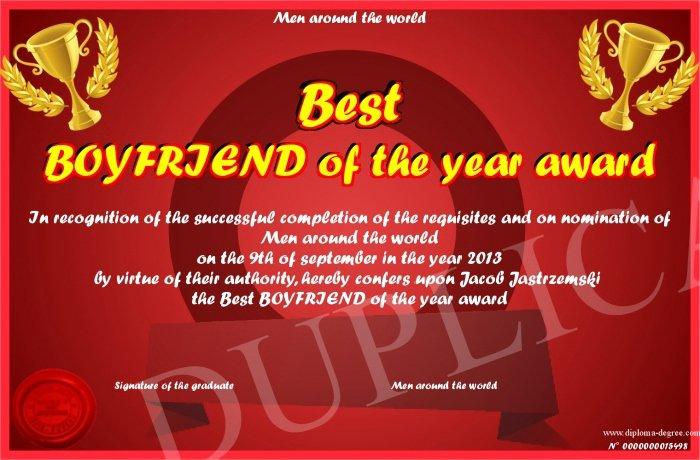 Best Boyfriend Award Printable Beautiful Best Boyfriend Of the Year Award