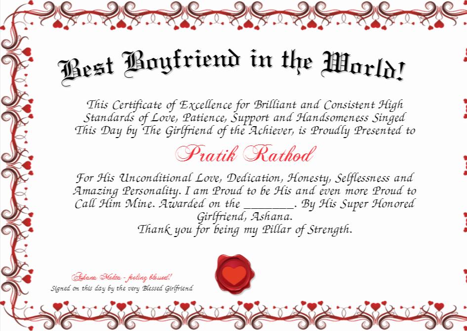 Best Boyfriend Award Printable Best Of Best Boyfriend In the World Certificate