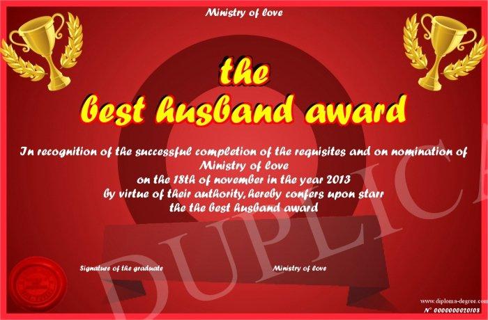 Best Boyfriend Award Printable Best Of the Best Husband Award