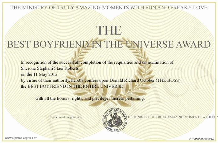 Best Boyfriend Award Printable Elegant the Best Boyfriend In the Universe Award