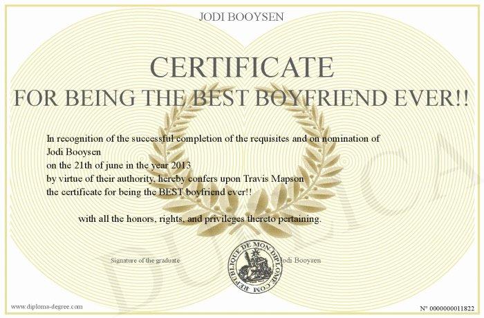 Best Boyfriend Award Printable Unique Certificate for Being the Best Boyfriend Ever
