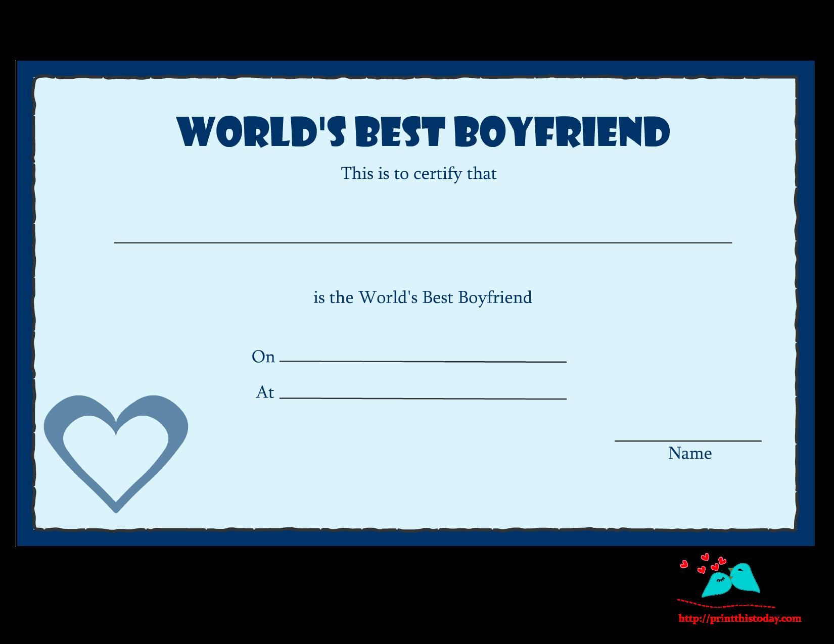 Best Boyfriend Award Printable Unique Free Printable World S Best Boyfriend Certificates