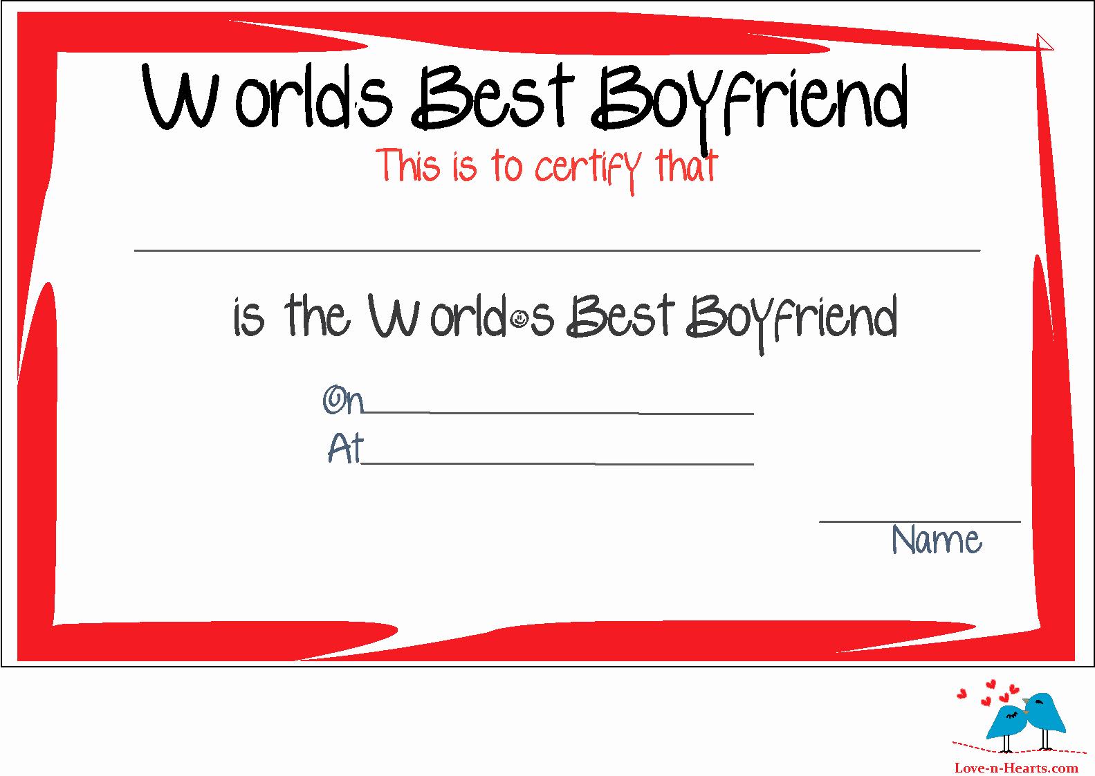 Best Boyfriend Award Template Awesome Free Printable World S Best Boyfriend Certificates