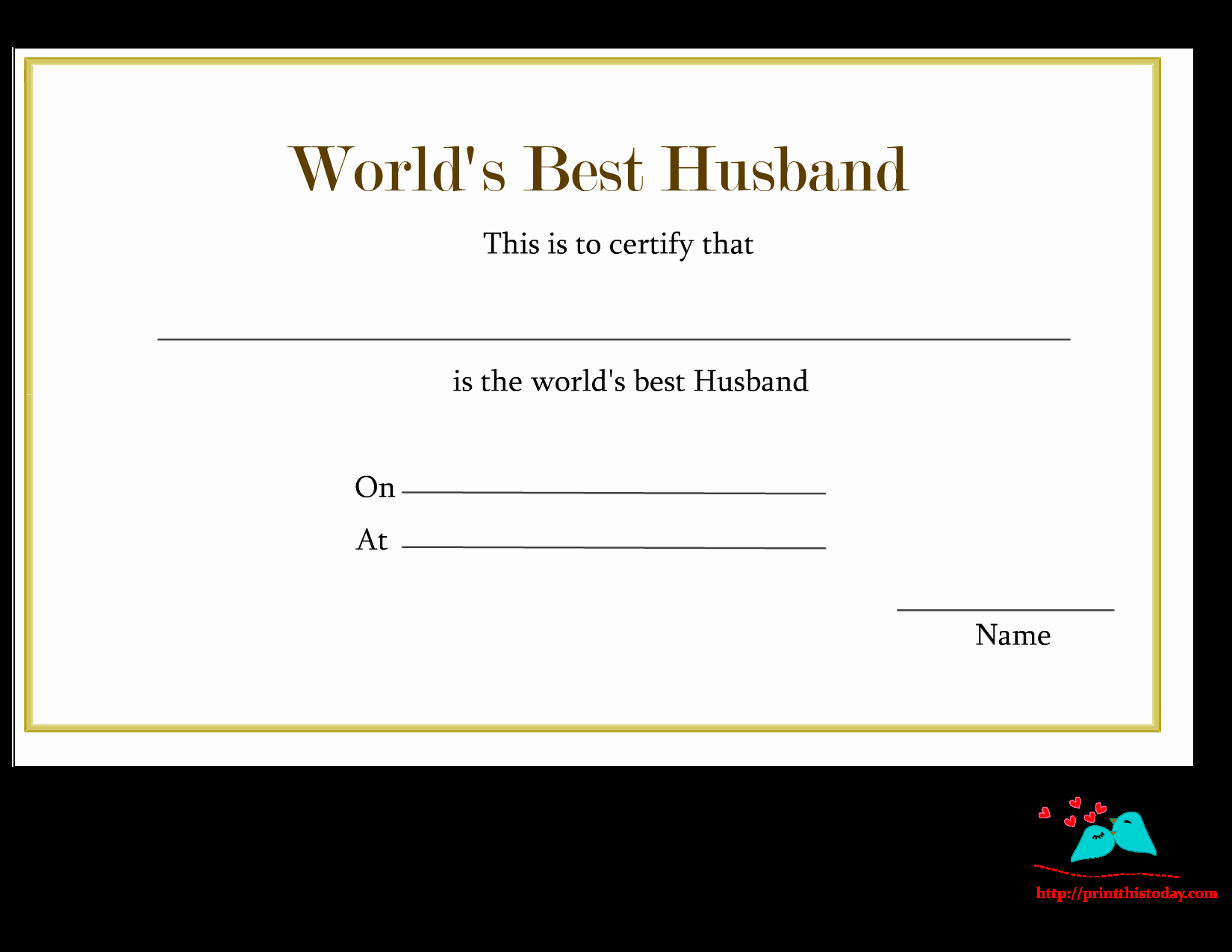 Best Boyfriend Award Template Awesome Free Printable World S Best Husband Certificates