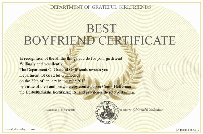 Best Boyfriend Award Template Luxury Best Boyfriend Certificate