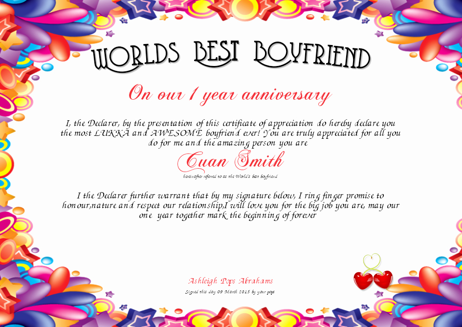 Best Boyfriend Award Template Luxury Worlds Best Boyfriend Certificate