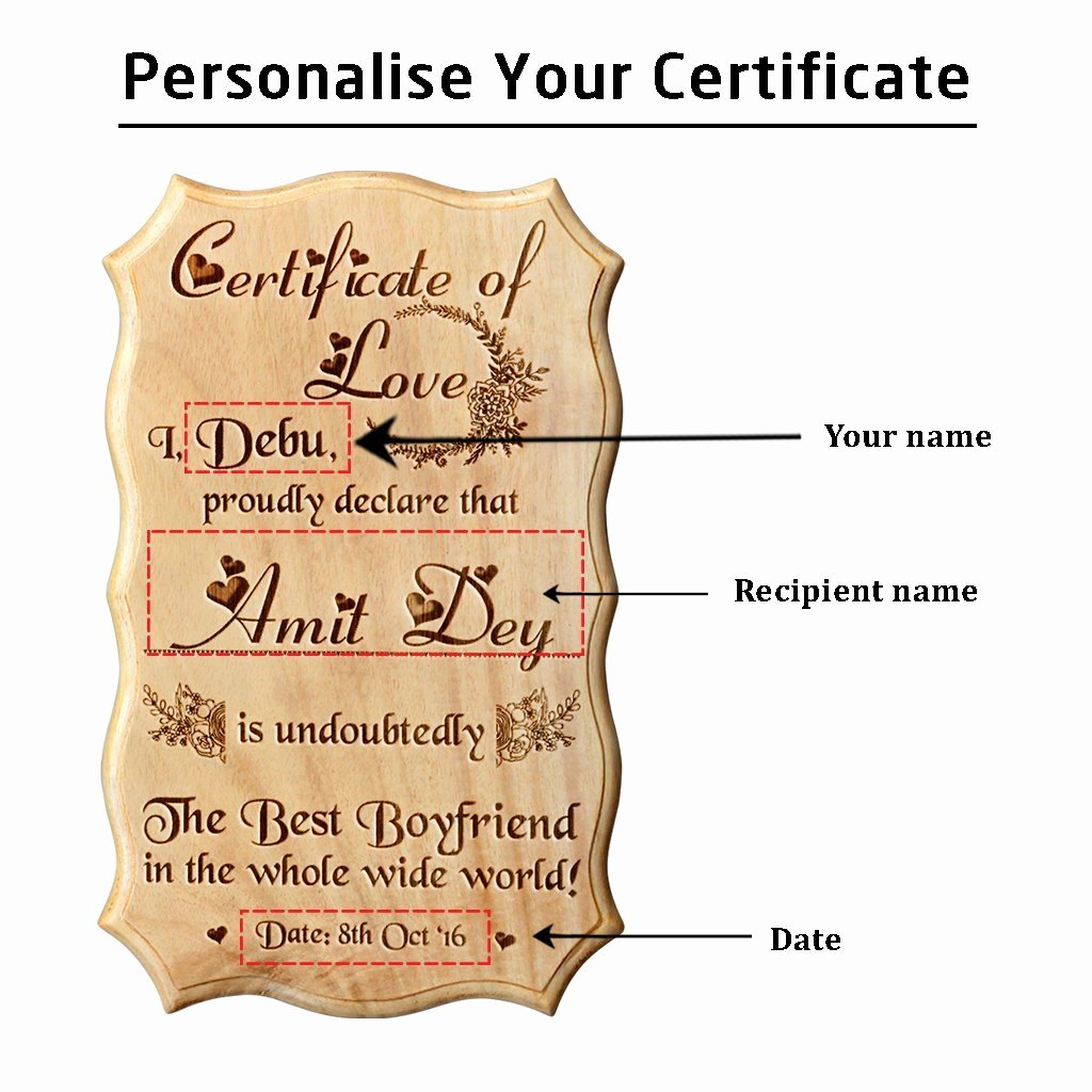 Best Boyfriend Award Template Unique Certificate Of Love & Award for the Best Boyfriend Wooden