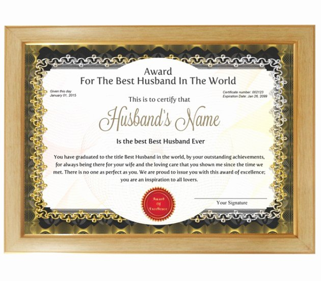 Best Boyfriend Certificate Template Awesome Personalized Award Certificate for Worlds Best Husband